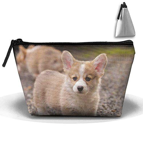 Corgi Puppy Dog Waterproof Trapezoidal Bag Cosmetic Bags Makeup Bag Large Travel Toiletry Pouch Portable Storage Pencil Holders