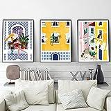 Decoración del hogar Lisboa planta chica ilustración lienzo pared arte arquitectura gato mujer cartel impresión viaje imagen 60x80cmx3 piezas marco interior
