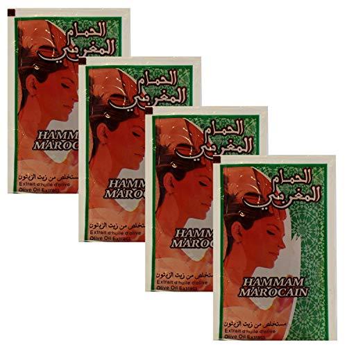 4er pack Marokkanische schwarze Seife Parfümfrei aus reinem Olivenöl 100 Gramm (4 x 25 g) | Hamam Seife Paste ORIGINAL aus Marokko | Savon Noir Natürliches Peeling für Gesicht Haut und Haare
