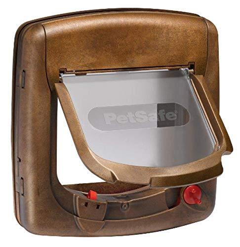 PetSafe Staywell Magnet Katzenklappe braun 4 Wege, Teleskoprahmen, Tunnel, 25,20 cm x 24,10 cm, Halsband+Magnetanhänger