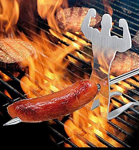 A. Weyck Tools 2X Grillspieß Big Boy Fun BBQ Grill Spieß 51cm Edelstahl + Holzgriff Strongman