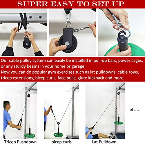 SYL Fitness Cable Pulley System - Pulldown Machine for Home Gyms - Equipment for Shoulder, Tricep, Bicep, Arm Workouts - Weight Plates Loading Pin with 800Lbs Capacity