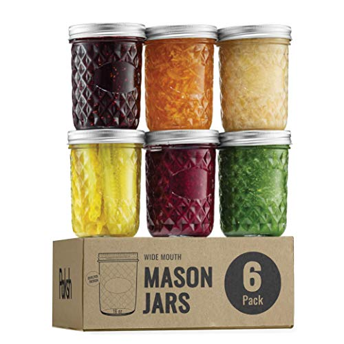 Quilted Wide Mouth Glass Mason Jars - 16-Ounce (6-Pack) Canning Jars with Lids and Bands, Chalkboard Labels, for Canning, Preserving, Pickling, Meal Prep, Jam, Jelly, Overnight Oats, Dishwasher Safe