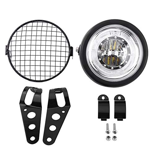 """Qiilu QL00999 6.5 """"faro per motocicli LED faro per montaggio laterale coperchio griglia con staffa per Cafe Racer"""