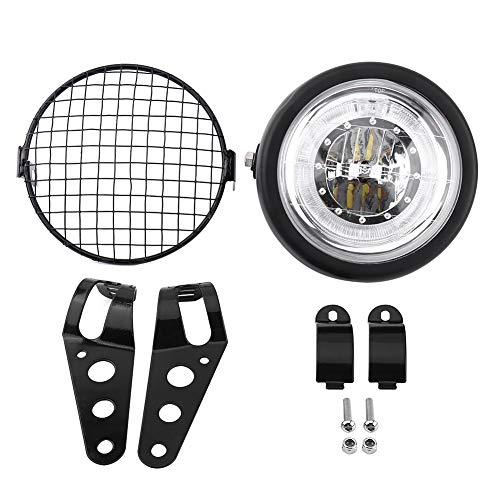 Qiilu QL00999 6.5'faro per motocicli LED faro per montaggio laterale coperchio griglia con staffa per Cafe Racer