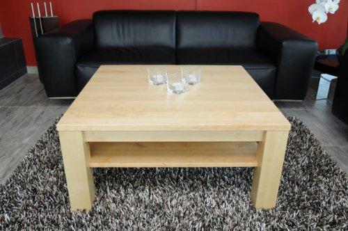 Holz-Projekt-Summer Couchtisch Ahorn 70x70 cm mit Ablage/Echtholz/Massivholz/Höhe 42 cm