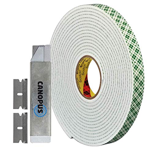 CANOPUS Double Sided Foam Tape for Craft and Card Making Projects, Heavy Duty Adhesive Mounting Tape 4016, 0.5 in x 10 yd