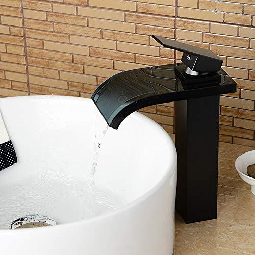 DKEE Grifo Cobre Material De Bronce Negro Cascada Agua Fría Y Caliente Lavabo Grifo Hotel Grifo