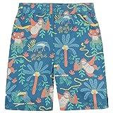 Piccalilly Soft Jersey Shorts para niños, algodón orgánico sin químicos, estampado de selva azul 2-10 años Azul azul 3-4 Años
