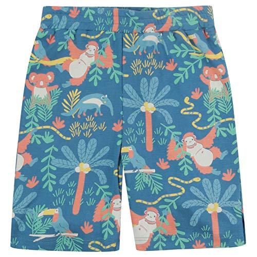 Piccalilly Soft Jersey Shorts para niños, algodón orgánico libre de químicos, estampado de selva tropical azul 2-10 años