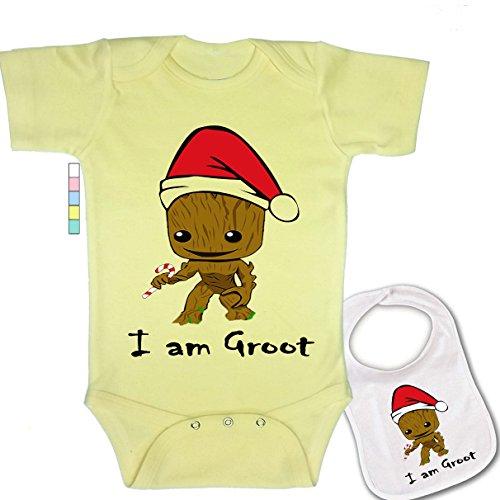 I Am Groot -Custom Christmas Santa Boutique Baby Bodysuit Onesie & Matching bib Yellow