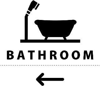 風呂 バスルーム BATH ROOM 案内 シール ステッカー(矢印付き) HOME STYLE カッティングステッカー 光沢タイプ・防水 耐水・屋外耐候3〜4年【クリックポストにて発送】 (黒, 115)