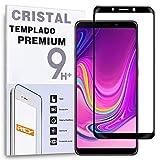 REY - Protector de Pantalla Curvo para Samsung Galaxy A9s 2019 / A9 2018, Negro, Cristal Vidrio Templado Premium, 3D / 4D / 5D