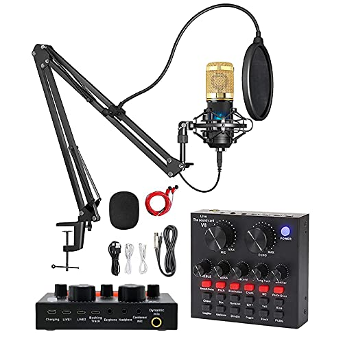 Podcast Equipment Bundle, with Professional Cardioid Pickup Podcast Microphone (120kHz/24 bit) and Mixing Board, Compatible with PC/Laptop/Smartphone, is Prefect for Streaming/Podcasting/Gaming