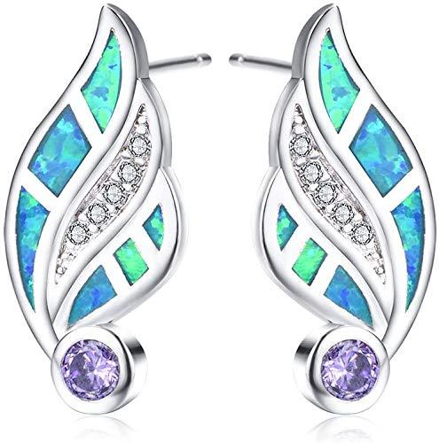 JIALI Created Fire Opal Stud Earrings White/Blue Gemstone Girl Personality Sterling Silver Diamond Wings Small Earrings Women Gift,Blackgold(White),Whitegold(blue)