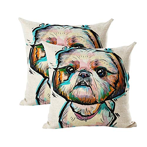"INSHERE Cute Pet Shih Tzu Dog Pattern Pack of 2 Throw Pillow Covers Cotton Linen Cushion Cover Pillowcases Sofa Home Decor 18""x 18"" (Dog 11)"