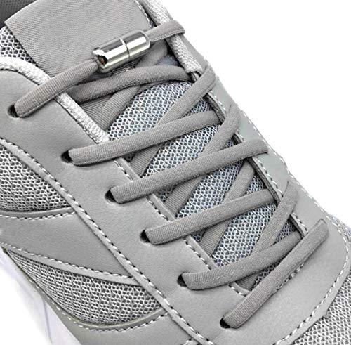 Laceton Elastische Schnürsenkel | Schnellschnürsystem mit hochwertigem Metall Lock-Verschluss - Stylischer Komfort und starker Halt | Schnürsenkel-Set, Nie mehr Schuhe binden (Grau)