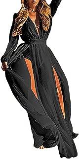 Bestyou Women's Long Maxi Dress Bikini Swimsuit Bathing Suit Cover up Swimwear Kimono Jacket Cardigan Robe Beachwear (Black)