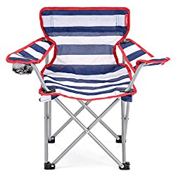 Sit back and relax in comfort at the beach, on your camping trip or picnic Camping chair with safety lock can be folded away into a compact size with ease Cup holder lets you store your favourite drink within arm's reach Strong steel frame can suppor...