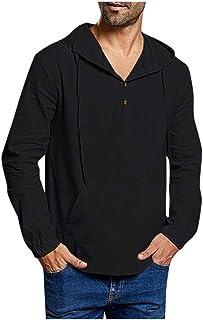 TUDUZ Camisetas Hombre Manga Larga Encapuchado Camisas Algodon Y Lino Tops ColorSólido