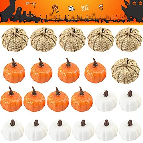 Mini Calabazas 22 Piezas Calabazas Blancas Halloween Mini Calabazas Artificiales Calabazas Decoracion...