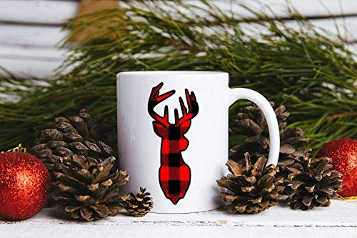 N\A Taza de Navidad Taza de dólar Taza de dólar de Cuadros Reno de Cuadros de búfalo, 11 oz