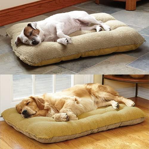 Colchones suaves y cálidos, para perros, 2 lados, lavables, lavables, para perros grandes, casa para gatos, camas, para perros, manta de cojín (beige, 70 x 50)
