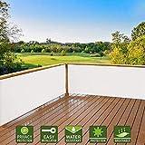 Hisunny Sichtschutz für Balkon 80x550cm Sichtschutz und Windschutz Sichtblende Balkonstoff Pflegeleichtes für den Gartenzaun oder Balkon Weiß