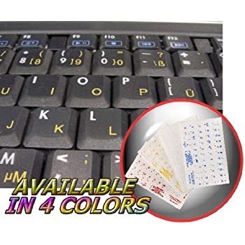 GERMAN KEYBOARD STICKER WITH RED LETTERING ON TRANSPARENT BACKGROUND