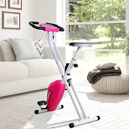 HOMCOM Cardio Fitness - Bicicleta estática plegable con pantalla LCD resistente y sillín ajustable, color rosa