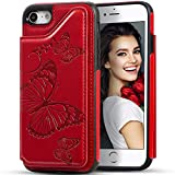 iPhone 6S Plus Wallet Case with Card Holder,iPhone 6 Plus Wallet Case for Women,Kudex Embossed Butterfly Folio Flip Leather Kickstand Magnetic Shockproof Wallet Case Cover for iPhone 6 Plus(Red)