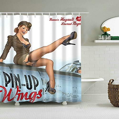 Nyngei Cortina de Ducha Decoración Militar Pin Up Girl Wings Air Force Art Painting Cortinas 183X183CM