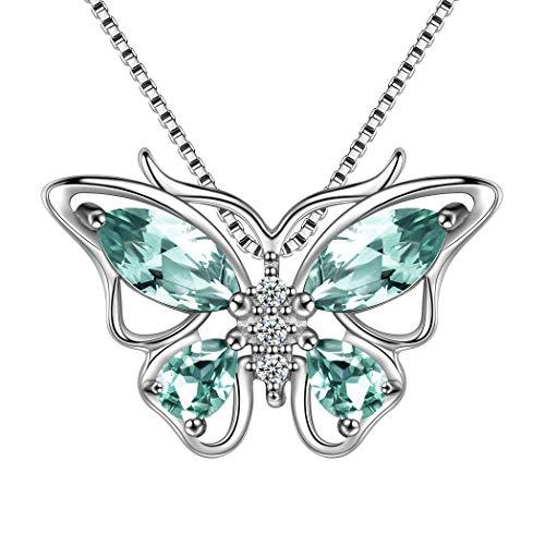 AuroraTears Schmetterling Halskette 925 Sterling Silber Kristall Anhänger Grün Schmuck Geschenke für Frauen und Mädchen DP0013G