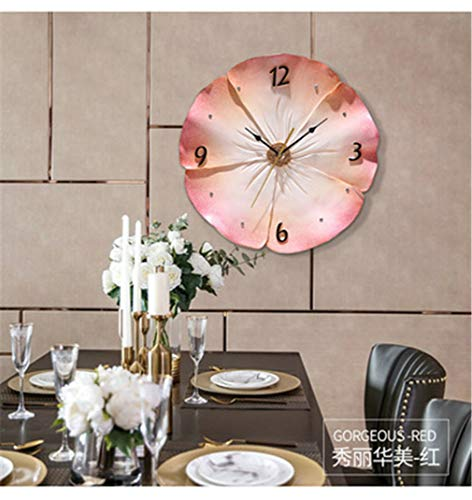 3D Dreidimensionale geprägte Wanduhr, Moderne kreative Wohnzimmer Art Dekorative Wanduhr, Umweltfreundliches Harz Kunst Silent Quarz-Uhr,Pink