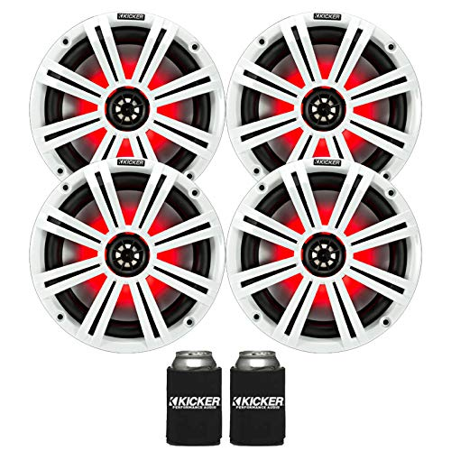 "Kicker 8"" White Marine LED Speakers - 2-Pairs of OEM Replacement Speakers"