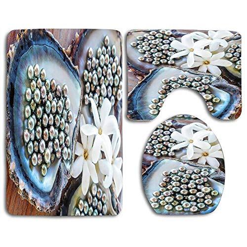 Tapis de bain définit les célèbres perles noires de Tahiti Matteo Colombo Contour Rug Housse de couvercle de toilette en U, antidérapante, lavable en machine, ensemble de tapis 3 pièces plus facile à