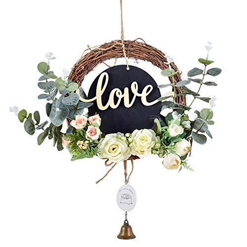 TUIHJA Corona de rosas artificiales, media corona de rosa para colgar en la pared, para puerta delantera, boda, fiesta, guardería