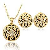 CLEARNICE Collar Clásico Pendientes Set Tiger Head Gold Color Rhinestone Fashion Jewelry Set Regalo para Mujer Longitud De Cadena 50Cm + 5Cm