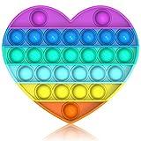 Bdwing Silicona Sensorial Fidget Juguete, Push Pop Bubble Sensory Toy, Autismo Necesidades Especiales Aliviador del Antiestrés del Juguetes para Niños Adultos Relajarse (Rainbow-Heart)