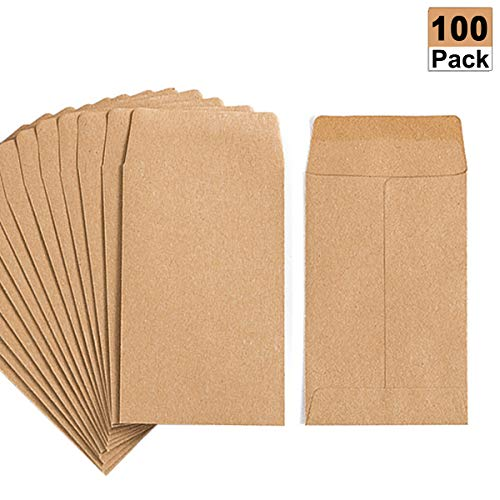100 Pack Kraft Small Coin Envelopes Self-Adhesive Kraft Seed Envelopes Mini Parts Small Items Stamps Storage Packets Envelopes for Garden, Office or Wedding Gift(2.25
