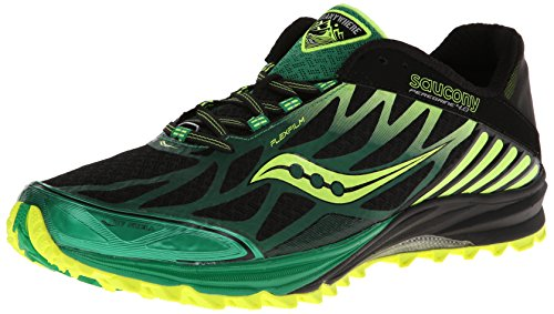Saucony Men's Peregrine 4 Trail Running Shoe,Black/Green/Citron,8 M US