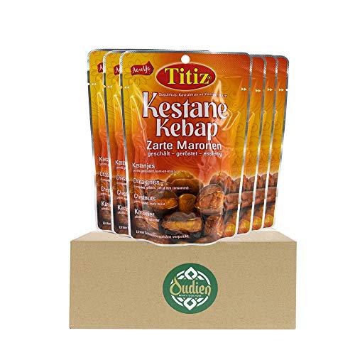 OUDIEN Set 6x125g Titiz Maronen, geschälte, geröstete Esskastanien, essfertig und vorgekocht