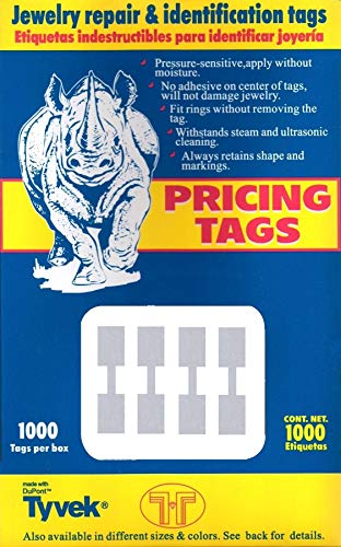 1000 Pcs Price Tags Stickers 12mm Barbell Jewelry Display Rectangle Shape (Silver)