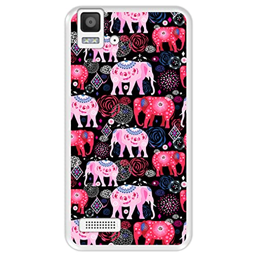 Hapdey Funda Transparente para [ Bq Aquaris E4 ] diseño [ Patrón Brillante de Elefantes Rosados y Rojos ] Carcasa Silicona Flexible TPU