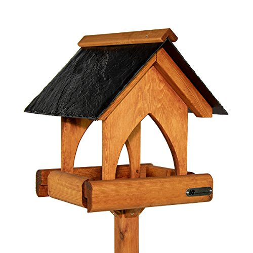 Photo of Riverside Woodcraft Gothic Slate Roof Bird Table With Anti Bacteria Coating