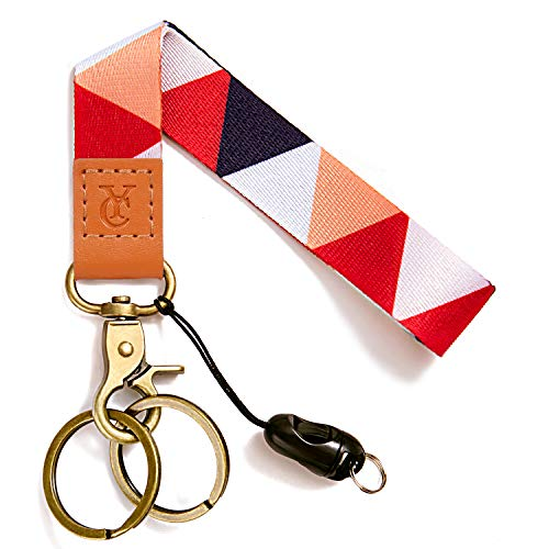 Wrist Lanyards Key Chain Holder Premium Quality Wristlet Keychain for Women (Red triangle)