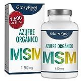 GloryFeel MSM 365 cápsulas veganas - 1600mg MSM (Metilsulfonilmetano) en polvo por dosis diaria de azufre orgánico - 99,9% Puro - 6 meses de suministro - Probado en laboratorio sin aditivos