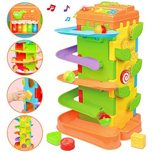 LUKAT Baby Spielzeug für 1 2 3 Jahre altes, 4 in 1Motori Aktivitätswürfel multifunktionale Spielzeug mit Rampenspur Musik Lernspielzeug für das Beste Geschenkspielzeug Kleinkinder Jungen und Mädchen