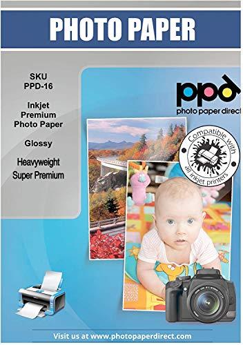 PPD A3 x 50 Blatt Inkjet 280 g/m2 Super Premium Hochglanz Fotopapier Mikroporös, Sofort Trocknend und Wasserfest - Profiqualität - DIN A3 x 50 Blatt PPD-16-50