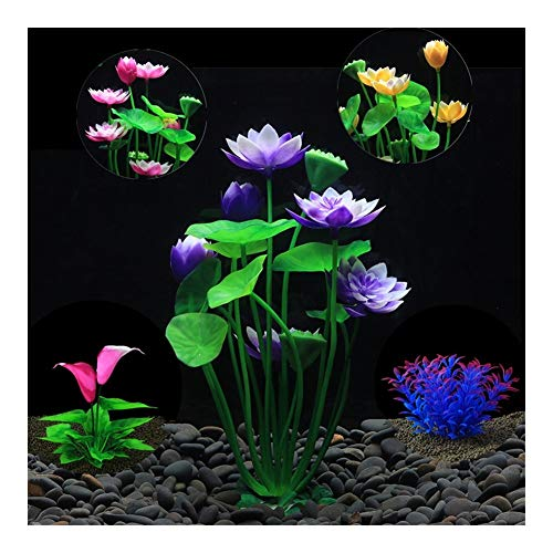 Wtbhd. Künstliche Aquarium Lotuspflanze Dekoration Landschaftsbau Wasser Gras Aquarium Ornamente Lotus Flower Aquatic Dekor Hintergrund (Color : 197 Red, Size : 1pcs)